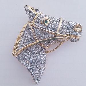 Vintage rhinestone horse head brooch pin gold